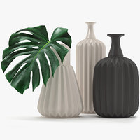 3D monstera leaves model