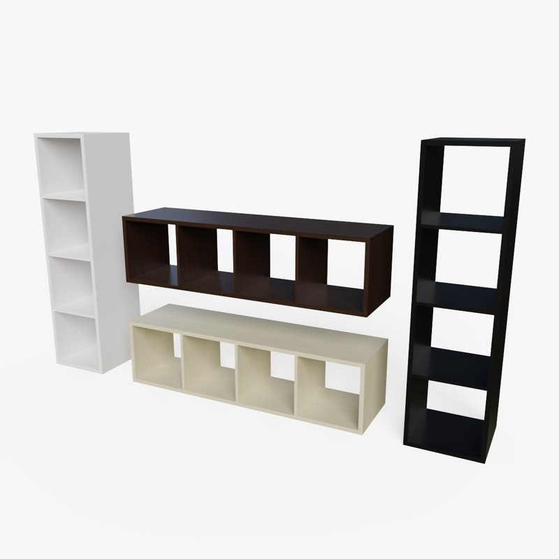 3D bookshelf ready pbr -