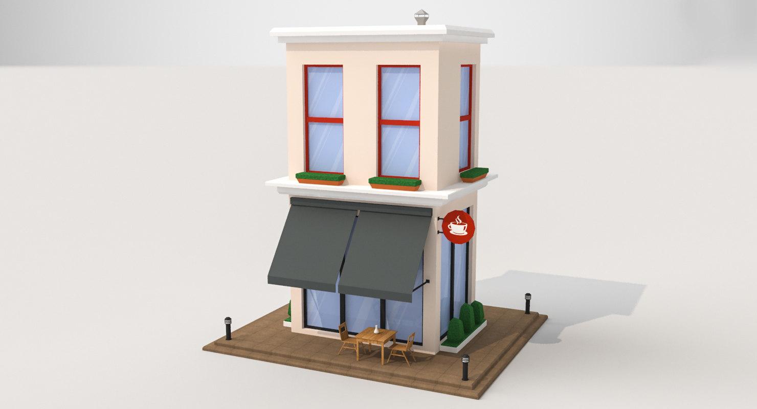 cartoon cafe 3D