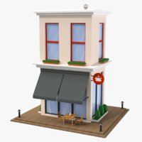 Cartoon Coffee Shop Low Poly 3D Model