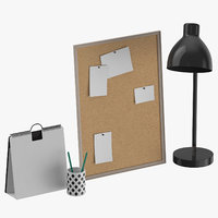 3D designer desk set 01 model
