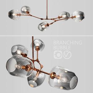 branching bubble 5 lamps 3D model