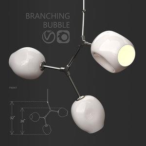 3D branching bubble 3 lamps