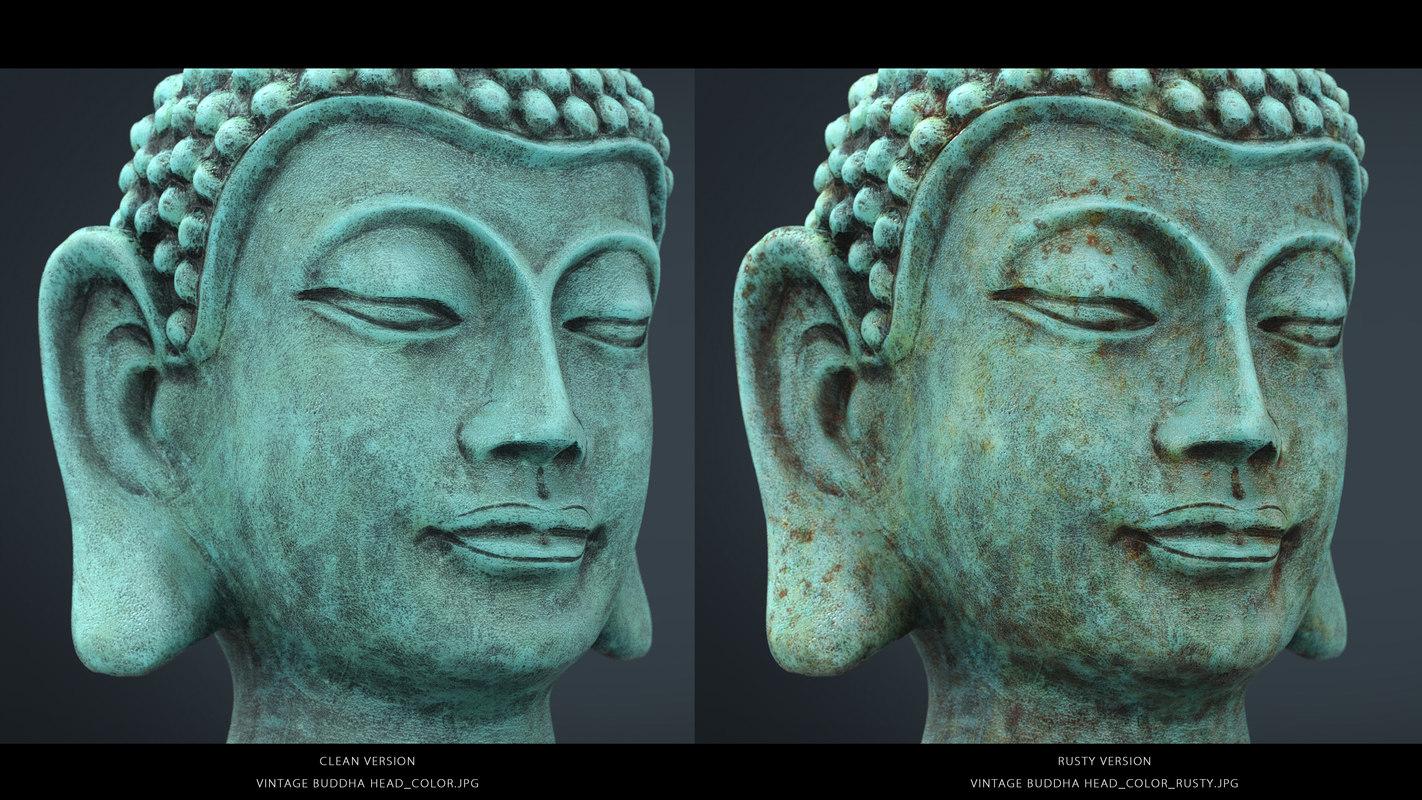 vintage buddha head 3D model