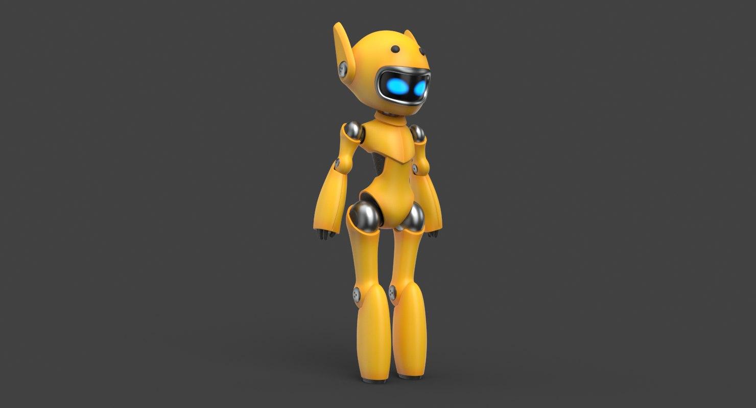 cute robot yellow model