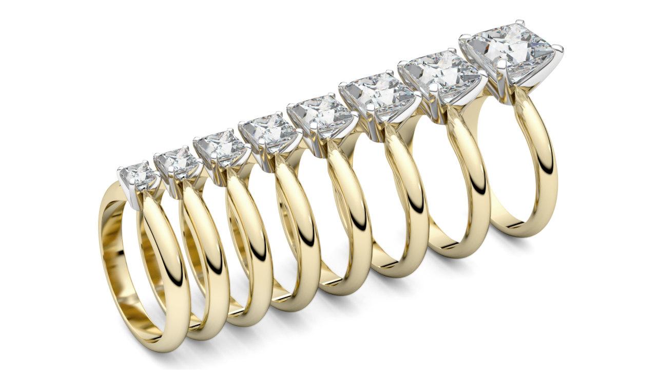 print solitaire rings princess 3D model