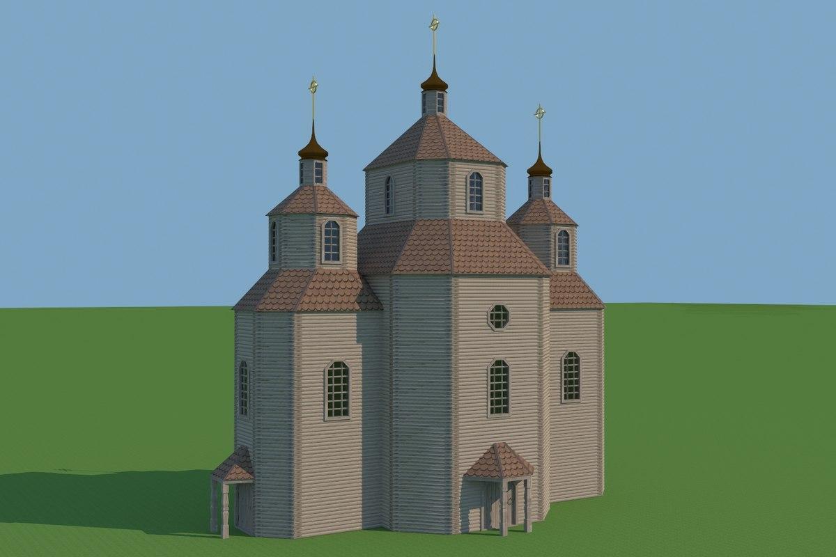 church wooden model