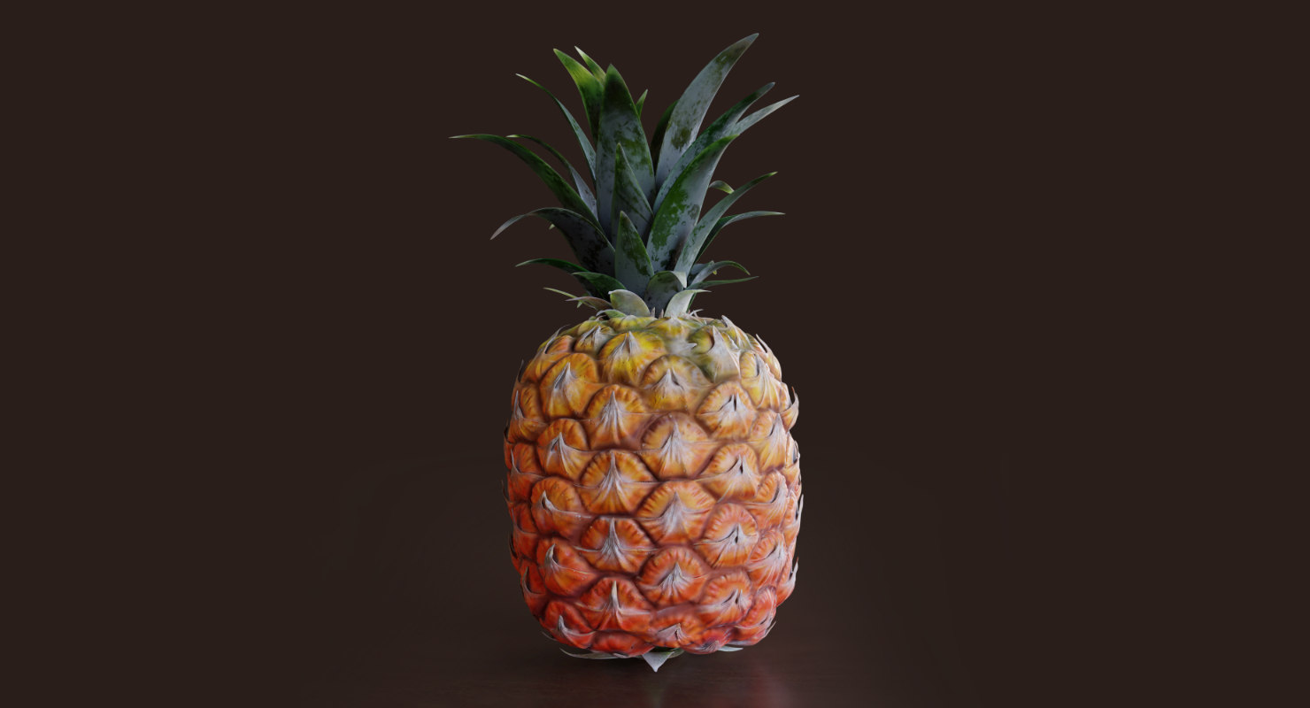 realistic pineapple fruit leaves 3D model