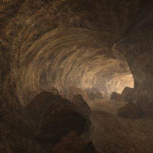3D cave tunnel rocks model