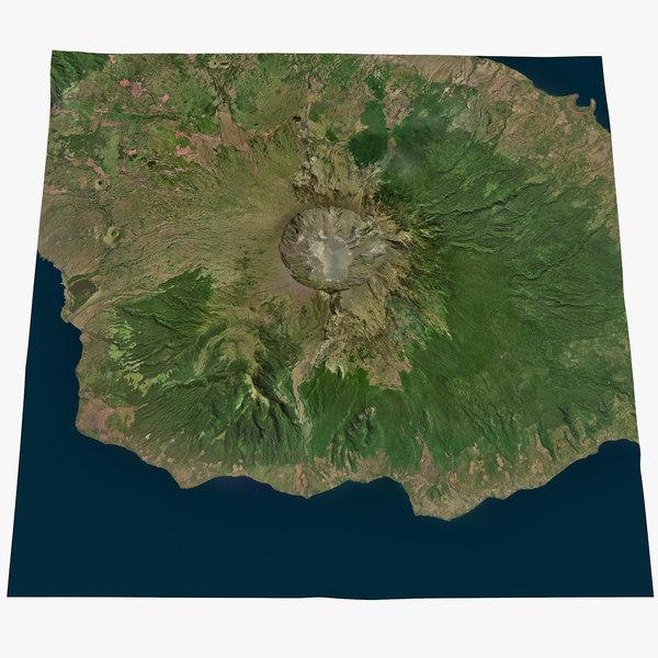 3D old volcano tambora