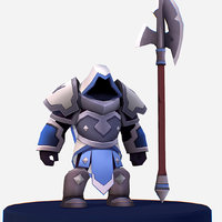 3D handpaint cartoon armored dark model