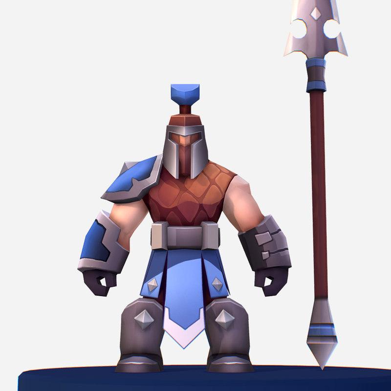 handpaint cartoon medieval spearman 3D model