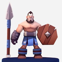 Handpaint Cartoon Medieval Spearman Wood Shield
