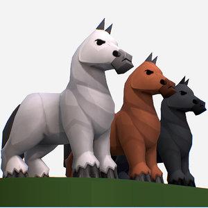 handpaint cartoon medieval horse 3D model