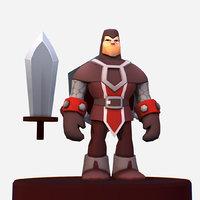 3D handpaint cartoon knight mmo model