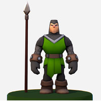3D handpaint cartoon medieval footman