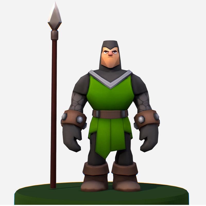 3D handpaint cartoon medieval footman
