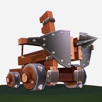handpaint cartoon medieval ballista 3D model