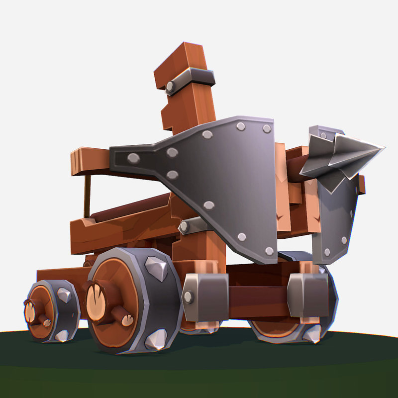 handpaint cartoon medieval ballista 3D model