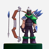 3D model handpaint cartoon archer warrior