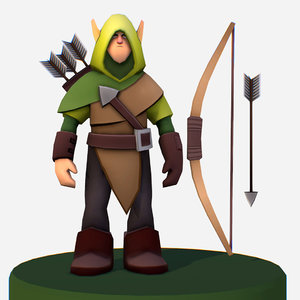 handpaint cartoon archer scout 3D model