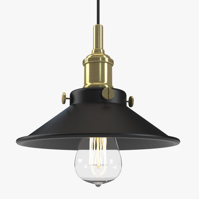 industrial retro hanging lamp 3D model