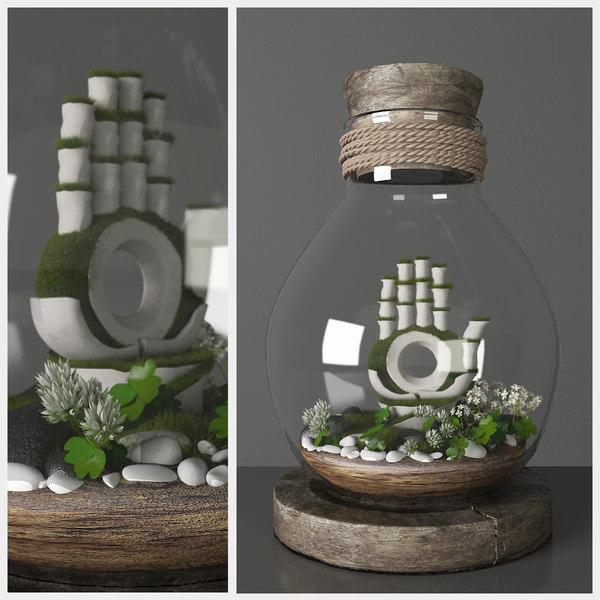 3D florarium decorative