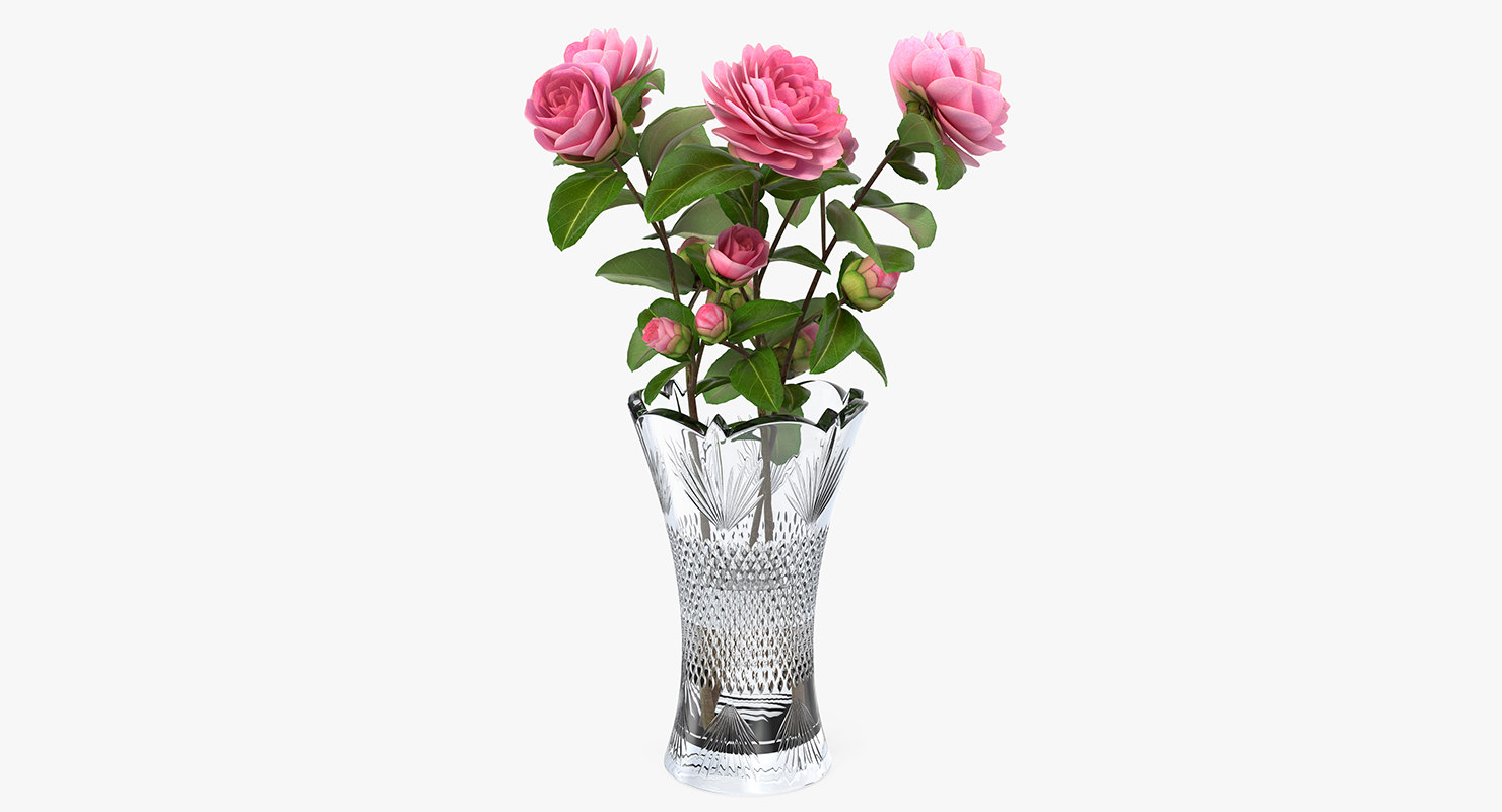 camellia bouquet pink vase model