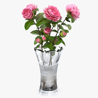 camellia bouquet pink vase model