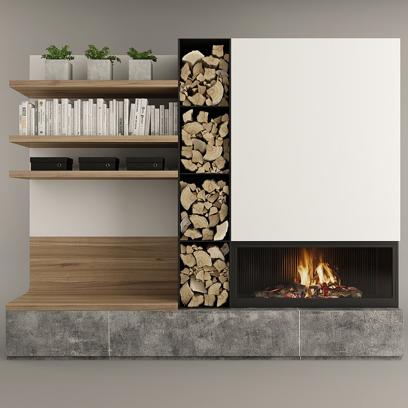 firewood fireplace books 3D model