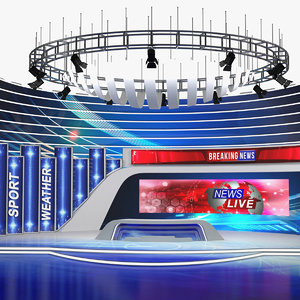 news tv studio 3D