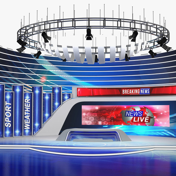 news tv studio 3D