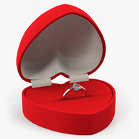 Red Heart Shaped Velvet Ring Gift Box 3D Model