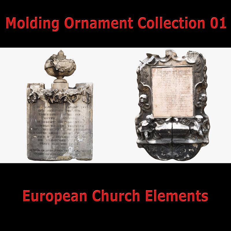 3D model old molding ornament