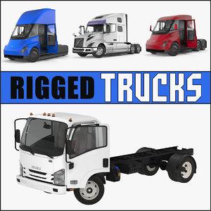 rigged trucks 3 semi model