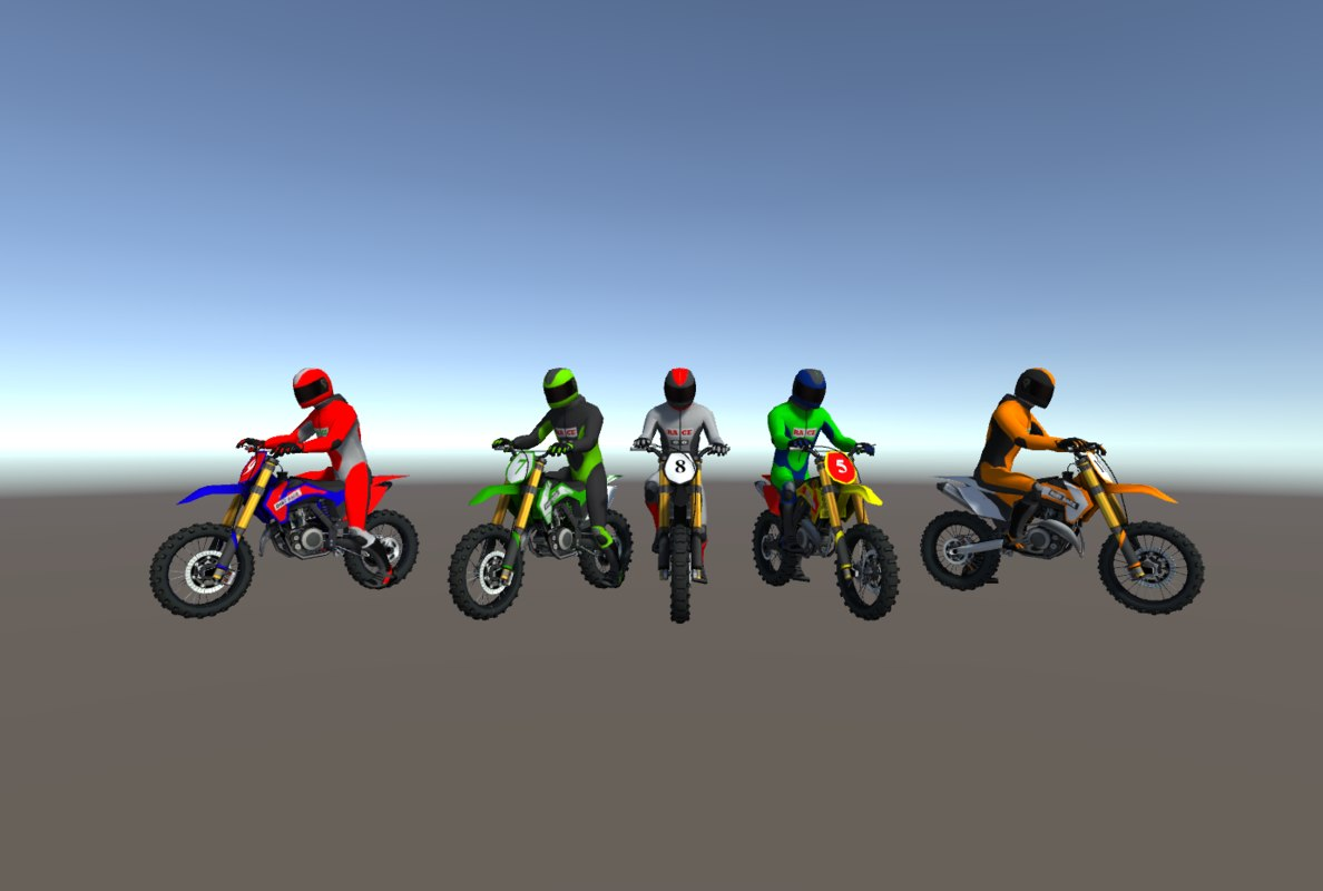 5 dirt bikes 3D