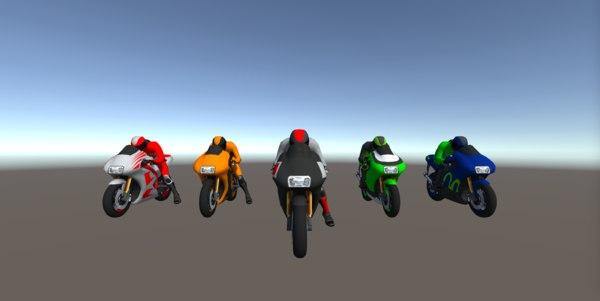 3D 5 racing bikes model
