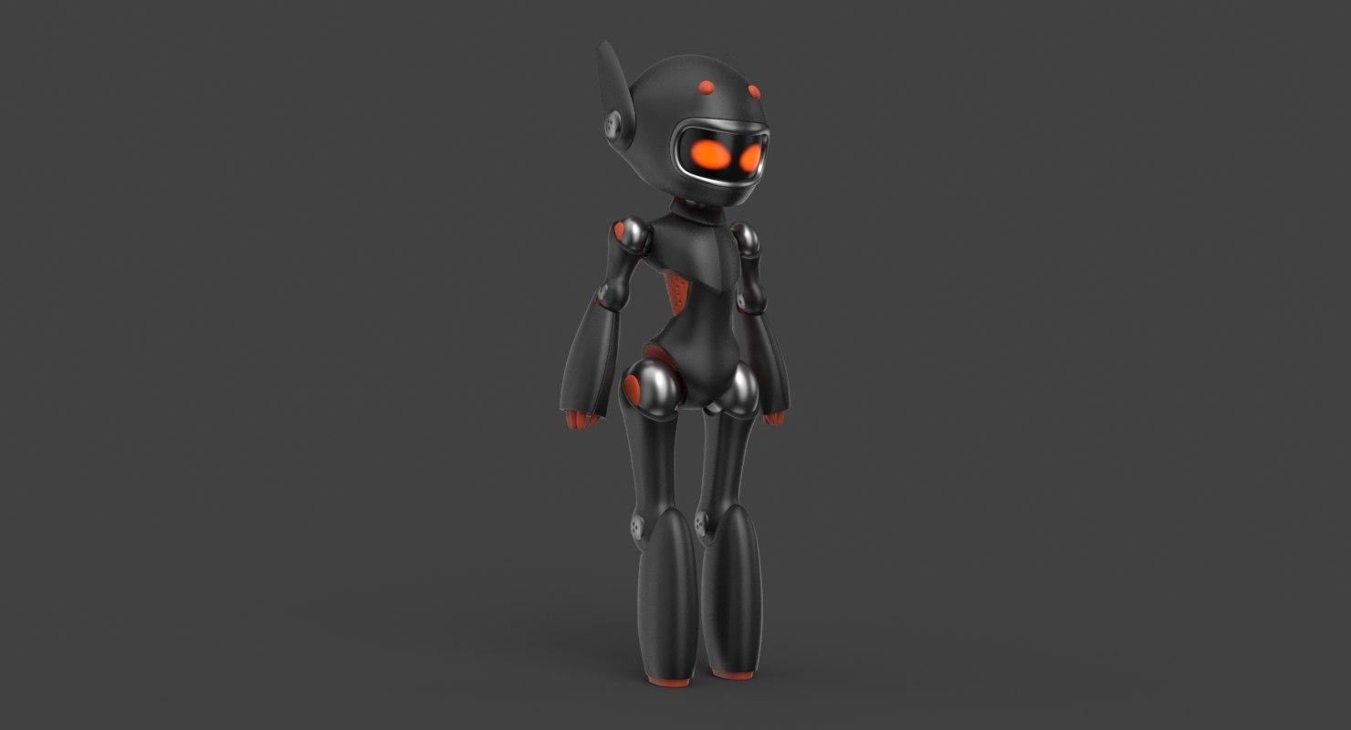 3D cute robot black
