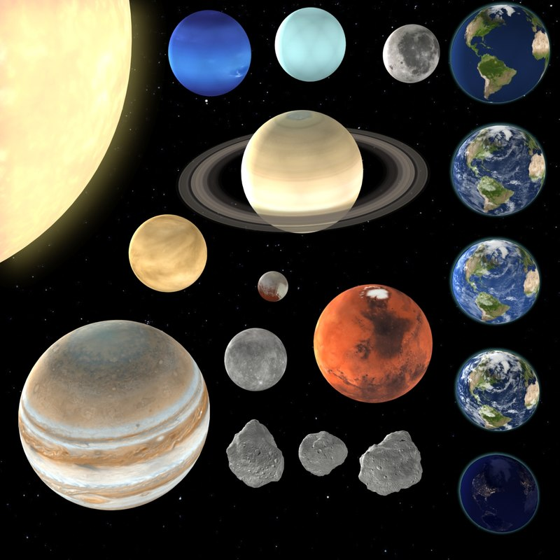 Planets Solar Earth 3D Model