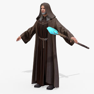 real-time rigged hero mage 3D model