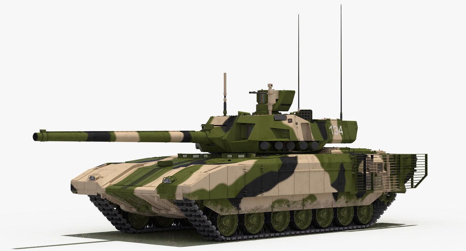 3D model t-14 armata green camo