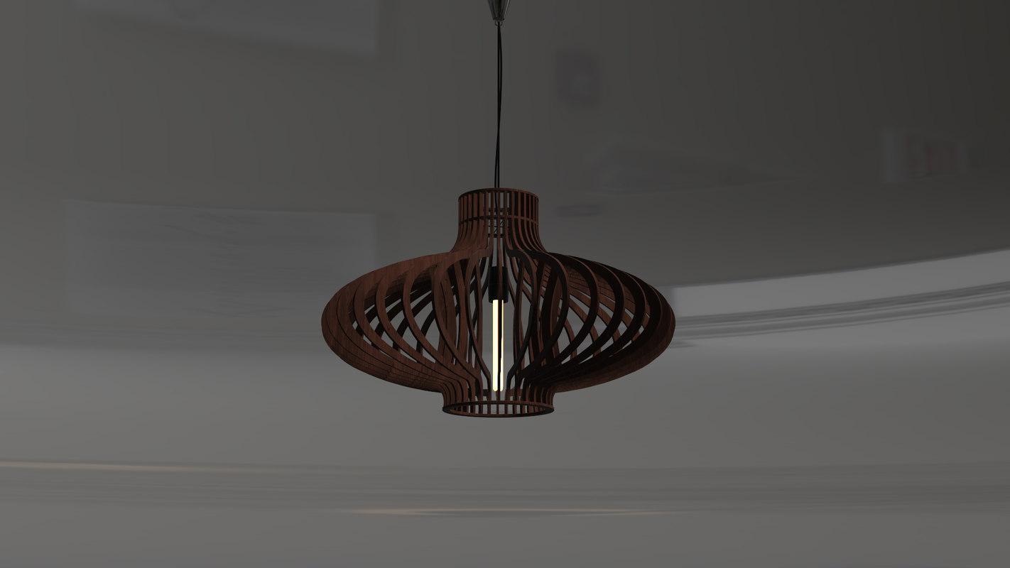 lamp pendant wood 3D model