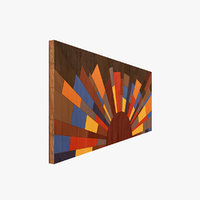 wood painting wall art model