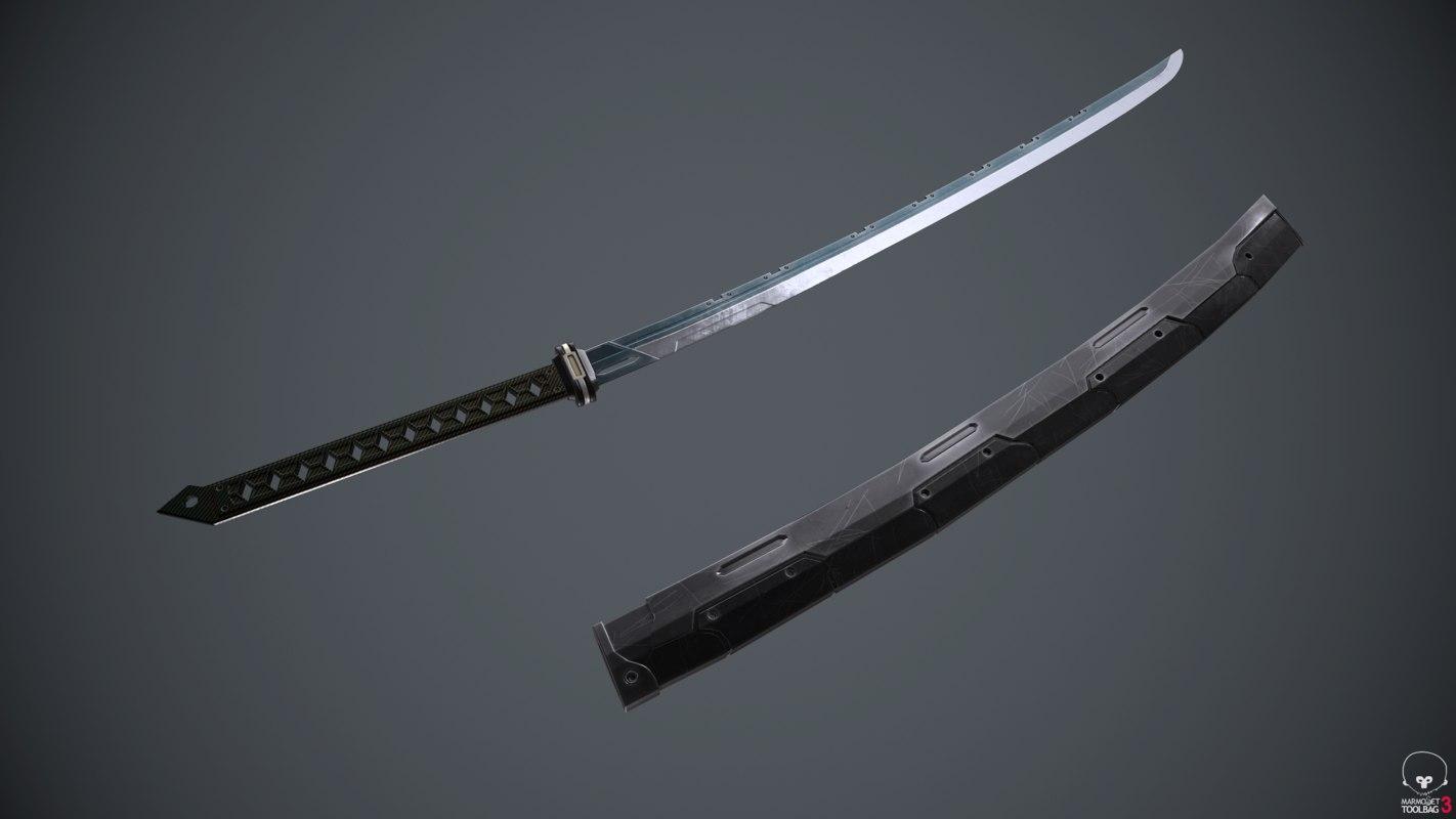 3D sci-fi katana sword