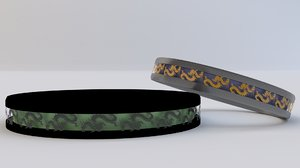 3D model wedding rings dragon inlay