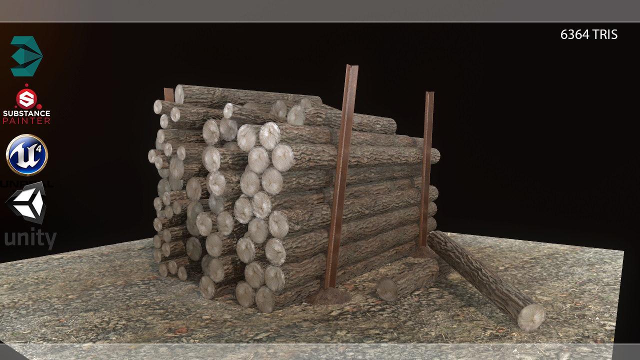 3D model wood logs pile pbr
