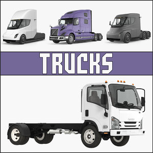 trucks 3 semi tesla 3D