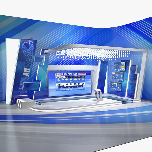 weather tv studio blue 3D