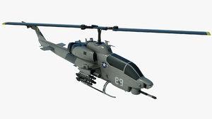 3D military helicopter bell ah-1 cobra model