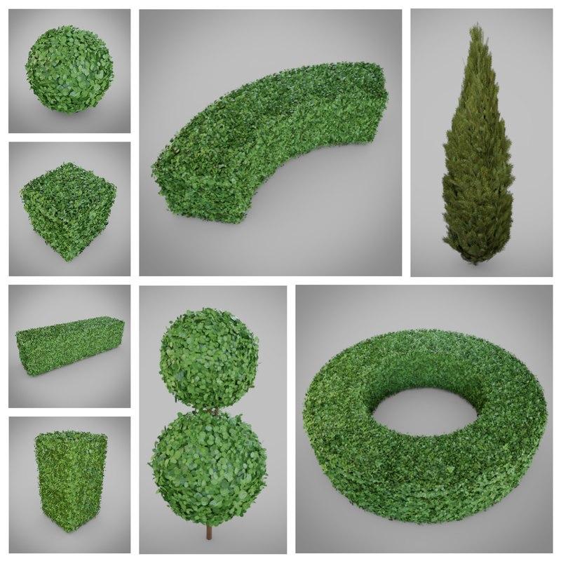 hedge shrub nature 3D